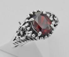 Synthetic Garnet Ring - Sterling Silver #97927v2