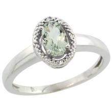 Sterling Silver Diamond Halo Natural Green Amethyst Ring Oval 6x4 mm, sizes 5-10 #15503v3