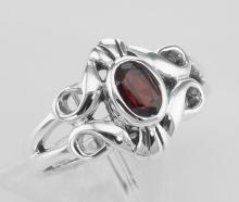 Antique Style Genuine Red Garnet Gemstone Ring - Sterling Silver #97920v2
