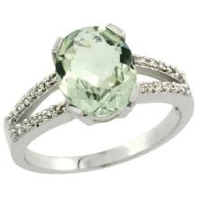 Sterling Silver Diamond Natural Green Amethyst Ring Oval 10x8 mm, sizes 5-10 #15506v3