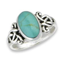 Celtic Knot Ring with Synthetic Turquoise STERLING SILVER SIZES 5-10 #18248v3