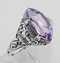 Antique Style Amethyst Filigree Ring - Sterling Silver #97465v2