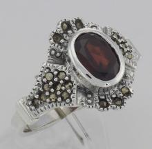 Antique Style Garnet and Marcasite Ring - Sterling Silver #97933v2