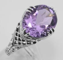 Amethyst Filigree Ring - Sterling Silver #97472v2