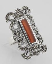 Antique Style Red Carnelian and Marcasite Ring - Sterling Silver #97814v2