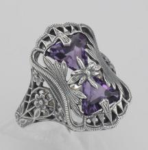 Art Deco Style Amethyst Filigree Ring with Flower Design - Sterling Silver #97478v2