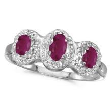 0.75tcw Oval Ruby and Diamond Three Stone Ring 14k White Gold #53158v3