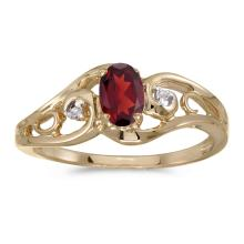 Certified 14k Yellow Gold Oval Garnet And Diamond Ring #25599v3
