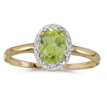 Certified 14k Yellow Gold Oval Peridot And Diamond Ring #25558v3