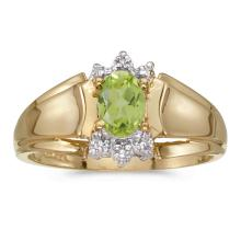 Certified 10k Yellow Gold Oval Peridot And Diamond Ring #25649v3