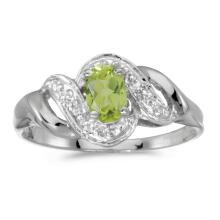 Certified 14k White Gold Oval Peridot And Diamond Swirl Ring #25638v3