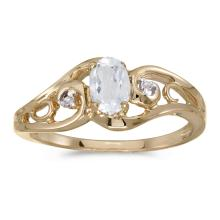 Certified 14k Yellow Gold Oval White Topaz And Diamond Ring #25646v3