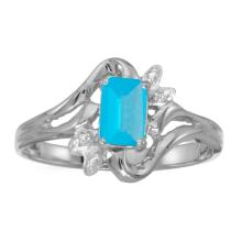 Certified 10k White Gold Emerald-cut Blue Topaz And Diamond Ring #25537v3