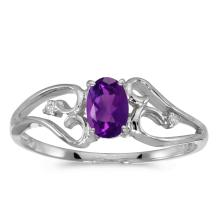 Certified 10k White Gold Oval Amethyst And Diamond Ring #25619v3