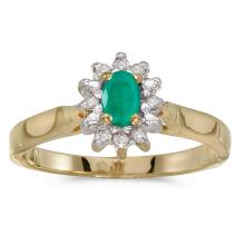 Certified 10k Yellow Gold Oval Emerald And Diamond Ring #25512v3