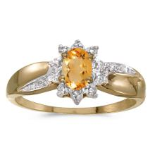 Certified 14k Yellow Gold Oval Citrine And Diamond Ring #25650v3