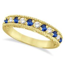 Diamond and Blue Sapphire Ring Anniversary Band 14k Yellow Gold (0.59ct) #53393v3
