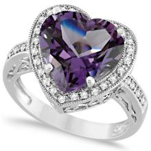 Heart Shaped Amethyst and Diamond Ring Halo 14K White Gold 5.41ct #20754v3