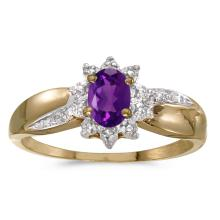 Certified 14k Yellow Gold Oval Amethyst And Diamond Ring #25589v3