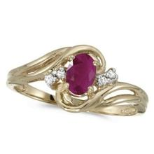 Ruby and Diamond Swirl Ring in 14k Yellow Gold (0.95ctw) #53157v3
