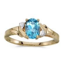 Certified 14k Yellow Gold Oval Blue Topaz And Diamond Ring #25662v3