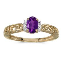 Certified 14k Yellow Gold Oval Amethyst And Diamond Ring #25527v3