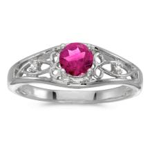 Certified 14k White Gold Round Pink Topaz And Diamond Ring #25547v3