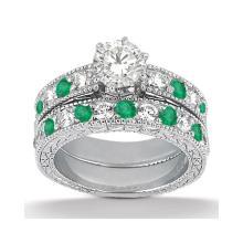 Antique Diamond and Emerald Bridal Set 14k White Gold (1.75ct) #20561v3