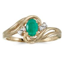 Certified 14k Yellow Gold Oval Emerald And Diamond Ring #25607v3