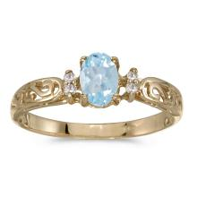 Certified 14k Yellow Gold Oval Aquamarine And Diamond Filagree Ring #25494v3