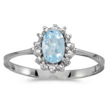 Certified 14k White Gold Oval Aquamarine And Diamond Ring #25596v3
