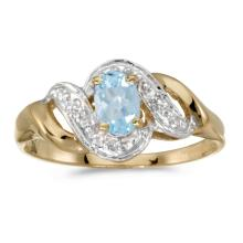 Certified 14k Yellow Gold Oval Aquamarine And Diamond Swirl Ring #25551v3