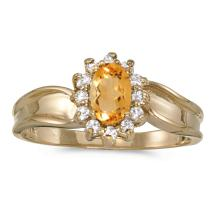 Certified 10k Yellow Gold Oval Citrine And Diamond Ring #25583v3