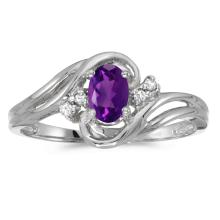 Certified 14k White Gold Oval Amethyst And Diamond Ring #25661v3