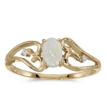 Certified 10k Yellow Gold Oval Opal And Diamond Ring #25600v3