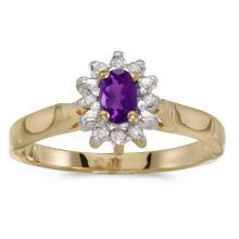 Certified 14k Yellow Gold Oval Amethyst And Diamond Ring #25595v3