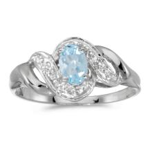 Certified 10k White Gold Oval Aquamarine And Diamond Swirl Ring #25516v3