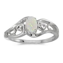 Certified 10k White Gold Oval Opal And Diamond Ring #25581v3