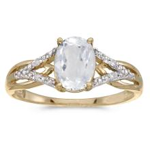 Certified 10k Yellow Gold Oval White Topaz And Diamond Ring #25679v3