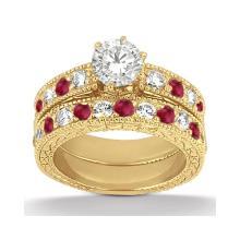 Antique Diamond and Ruby Bridal Set 14k Yellow Gold (1.80ct) #20717v3