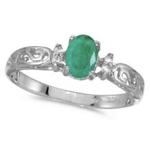 Emerald and Diamond Filagree Ring Antique Style 14k White Gold #53097v3