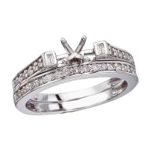 Certified 14K White Gold Baguette Diamond Bridal Ring Set #25665v3