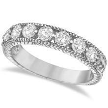 Antique Scrollwork Diamond Wedding Ring Band 14k White Gold (1.04ct) #20739v3