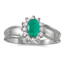 Certified 10k White Gold Oval Emerald And Diamond Ring #25648v3