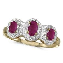 0.75tcw Oval Ruby and Diamond Three Stone Ring 14k Yellow Gold #53159v3