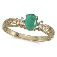 Emerald and Diamond Filigree Ring Antique Style 14k Yellow Gold #53098v3