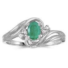 Emerald and Diamond Swirl Ring in 14k White Gold (0.75ctw) #53099v3