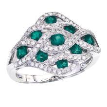 Certified 14k White Gold Flowing Emerald Diamond Ring #25420v3