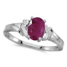 Oval Ruby and Diamond Ring in 14K White Gold (0.95ct) #53164v3