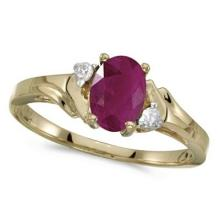 Oval Ruby and Diamond Ring in 14K Yellow Gold (0.95ct) #53165v3